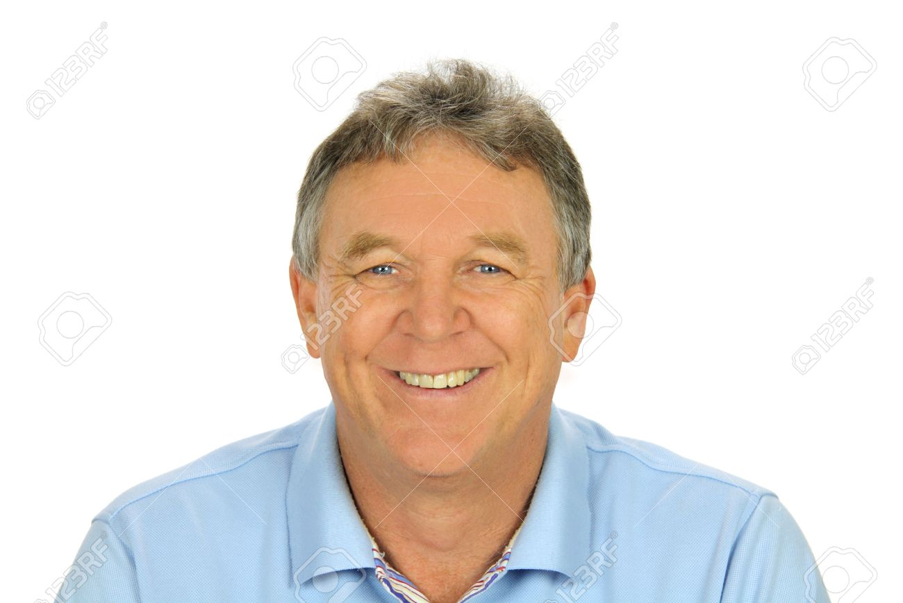 close up of middle aged casual man smiling and sitting stock