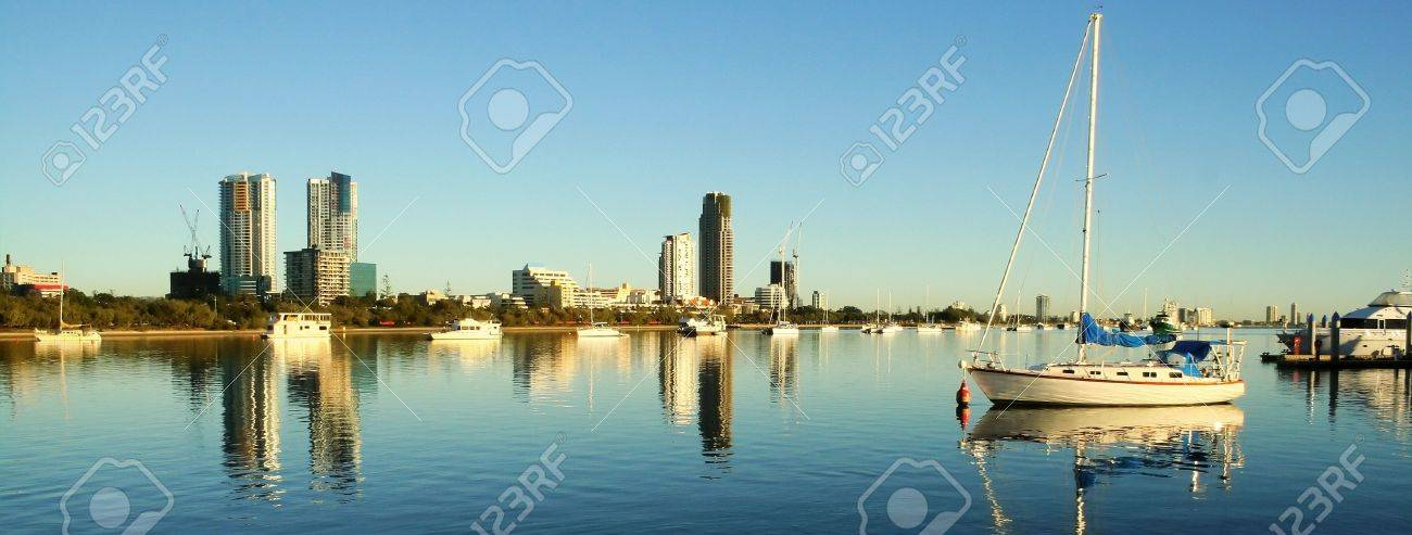 View of the boats on the Broadwater Gold Coast Australia looking toward Southport. - 7224578