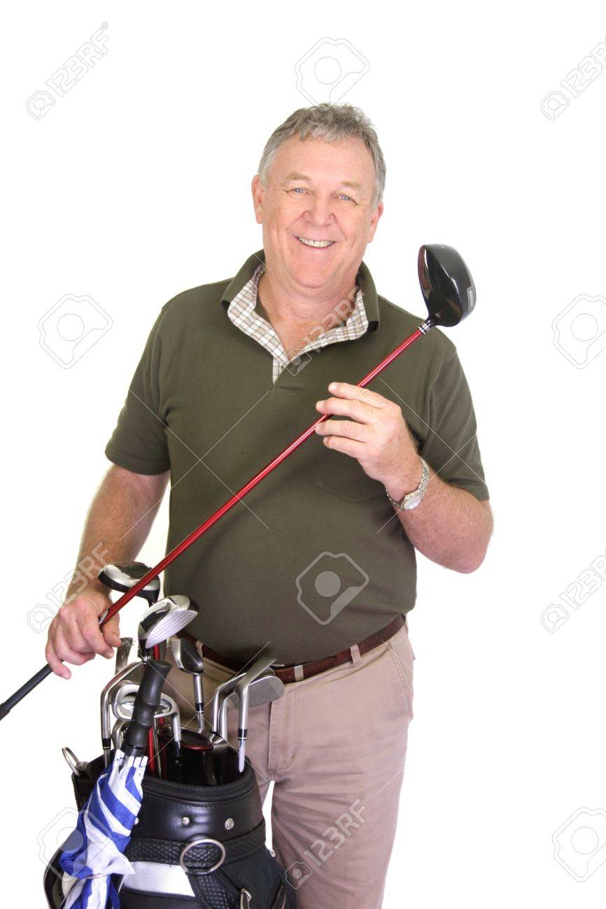 Wealthy middle aged man holding a golf club with golf bag. - 14319352