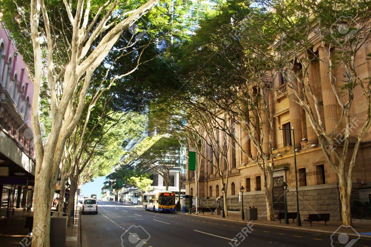 Adelaide Street in Brisbane, Queensland Australia with entrance to Brisbane City Hall. - 14464047