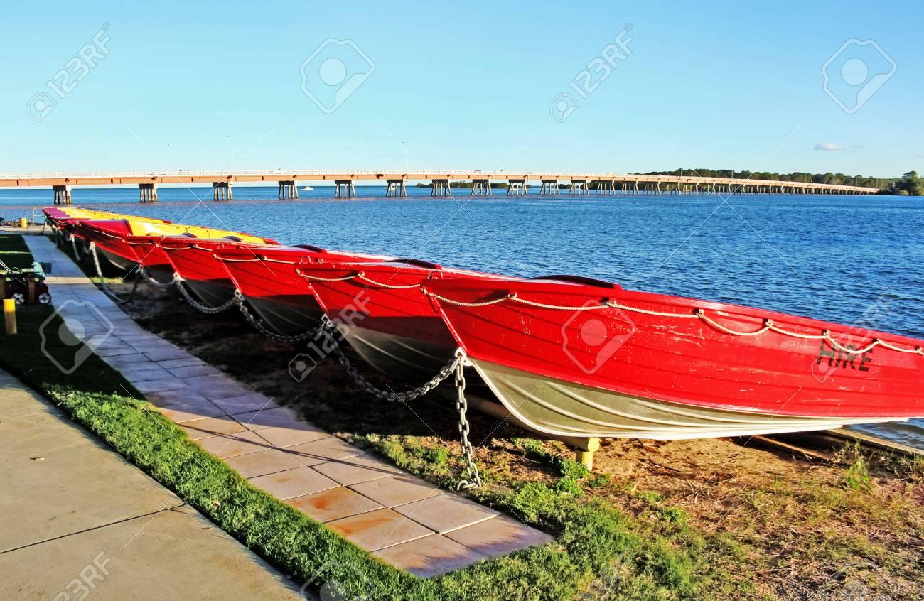 Hire boats at Bribie Island in Queensland Australia. Stock Photo - 22966815