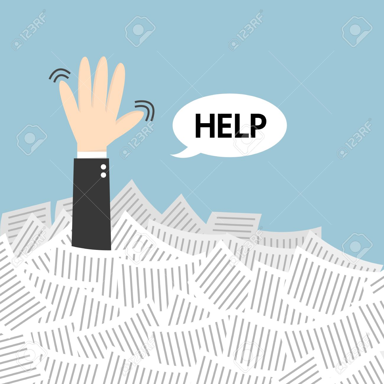businessman need help under a lot of white paper flat design businessman need help under a lot of white paper flat design stock vector 47009155