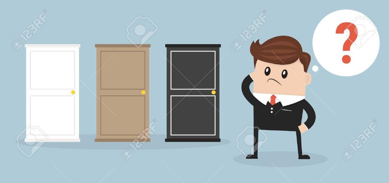 Businessman Choosing The Right Door. - 56182470