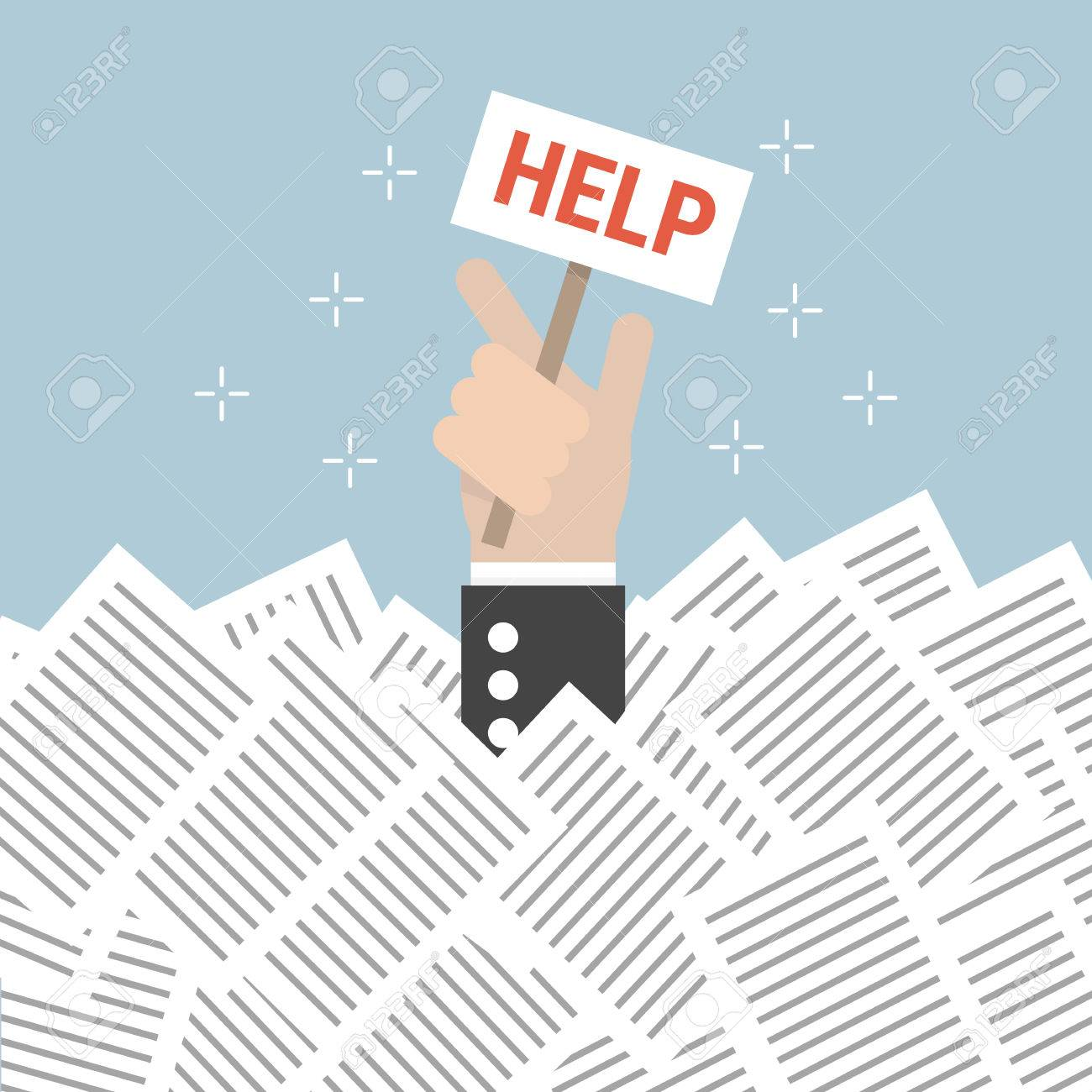 businessman need help under a lot of white paper flat design businessman need help under a lot of white paper flat design stock vector 56182517