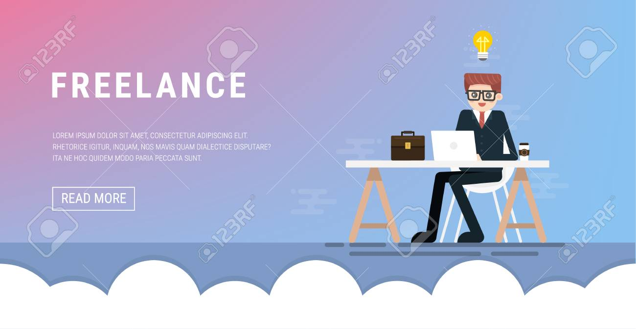 Freelance Working On Workplace Web Design Business Character Royalty Free Cliparts Vectors And Stock Illustration Image 98526922