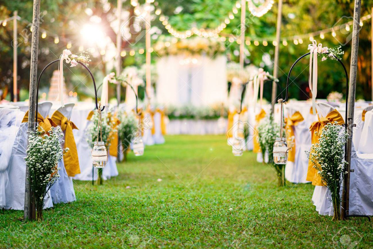Beautiful Wedding Ceremony In Garden At Sunset Stock Photo, Picture ...