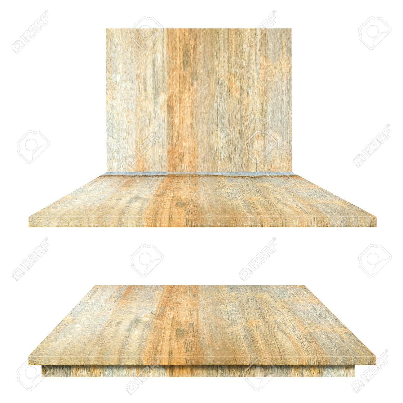 Witte Planken Aan De Muur.Houten Bovenste Planken Tafel En Muur Geisoleerd Op Een Witte