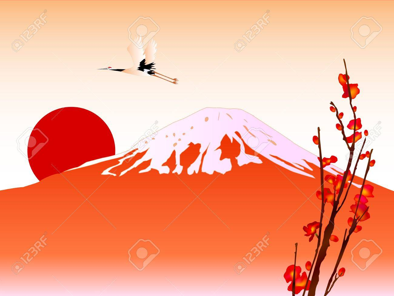 Fuji and sunrise Stock Vector - 11586396