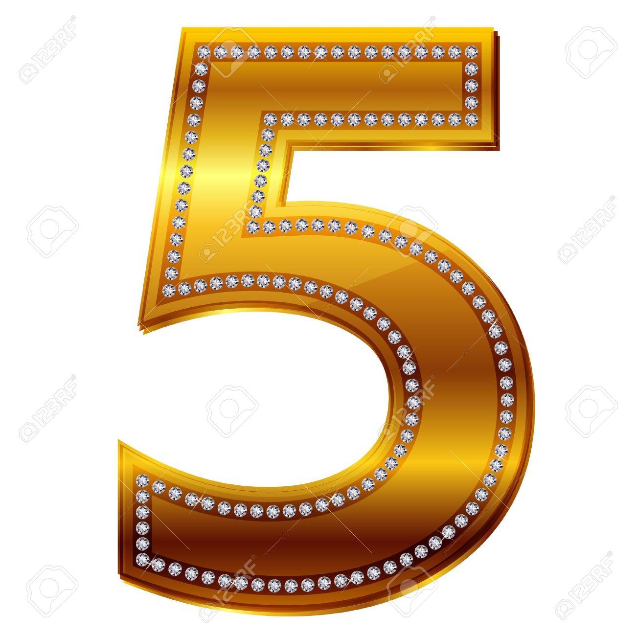 el número 5 de diamantes en oro ilustraciones vectoriales clip art