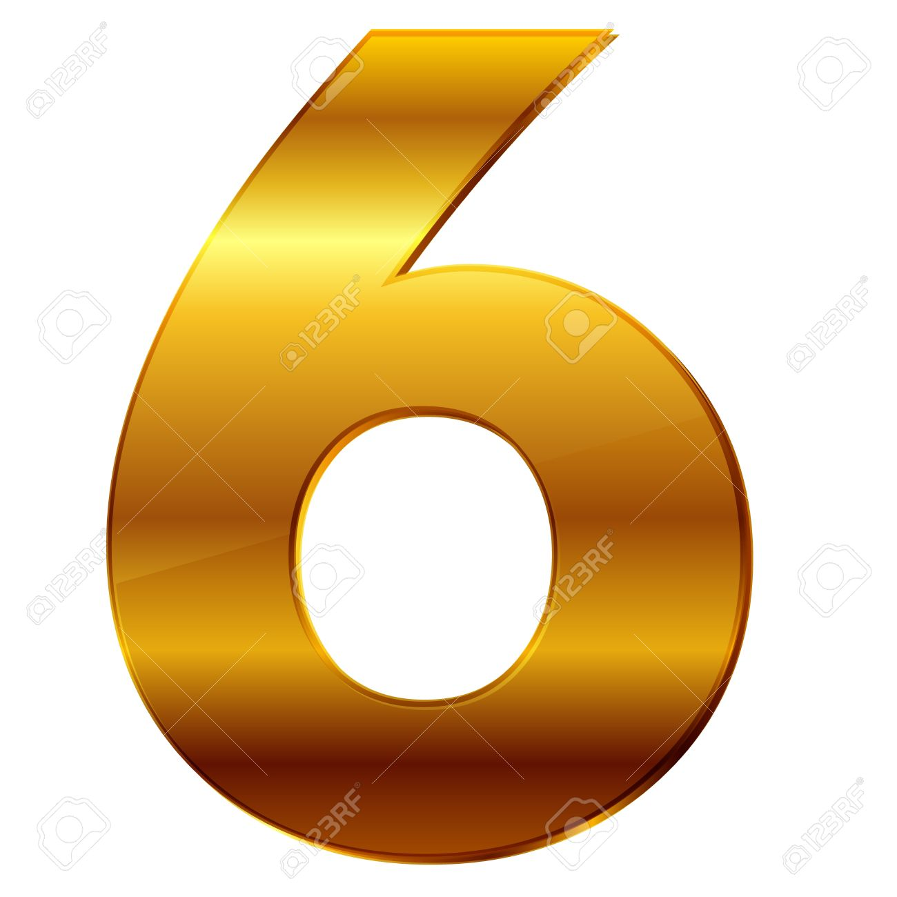6 >> Number 6 In Gold Royalty Free Cliparts Vectors And Stock