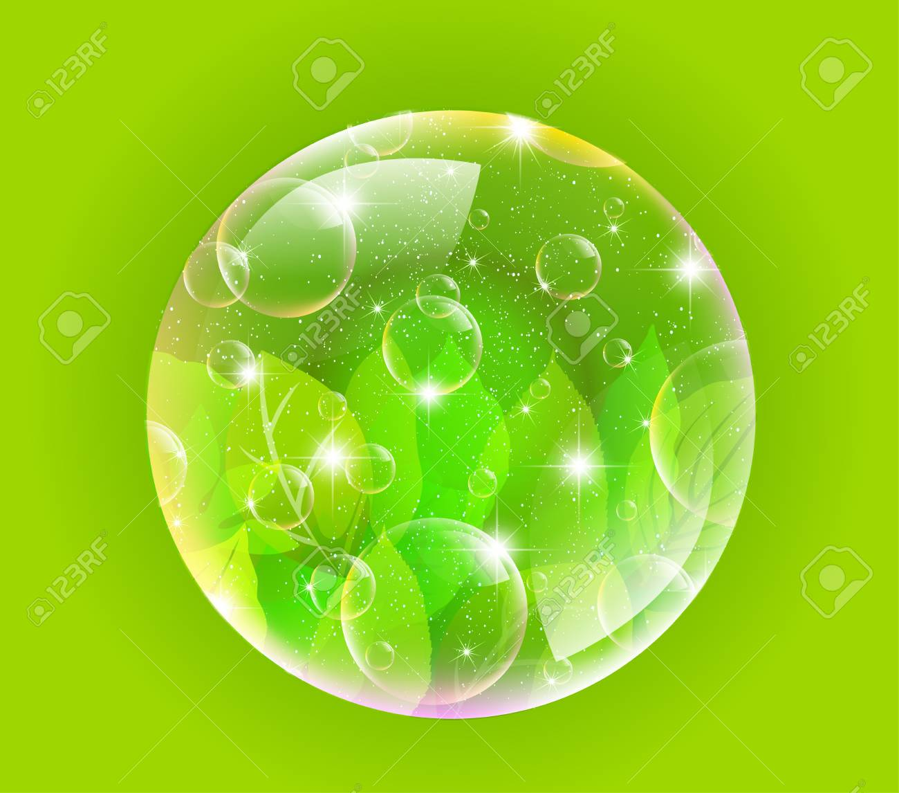 Plant leaf background bubble Stock Vector - 17962770