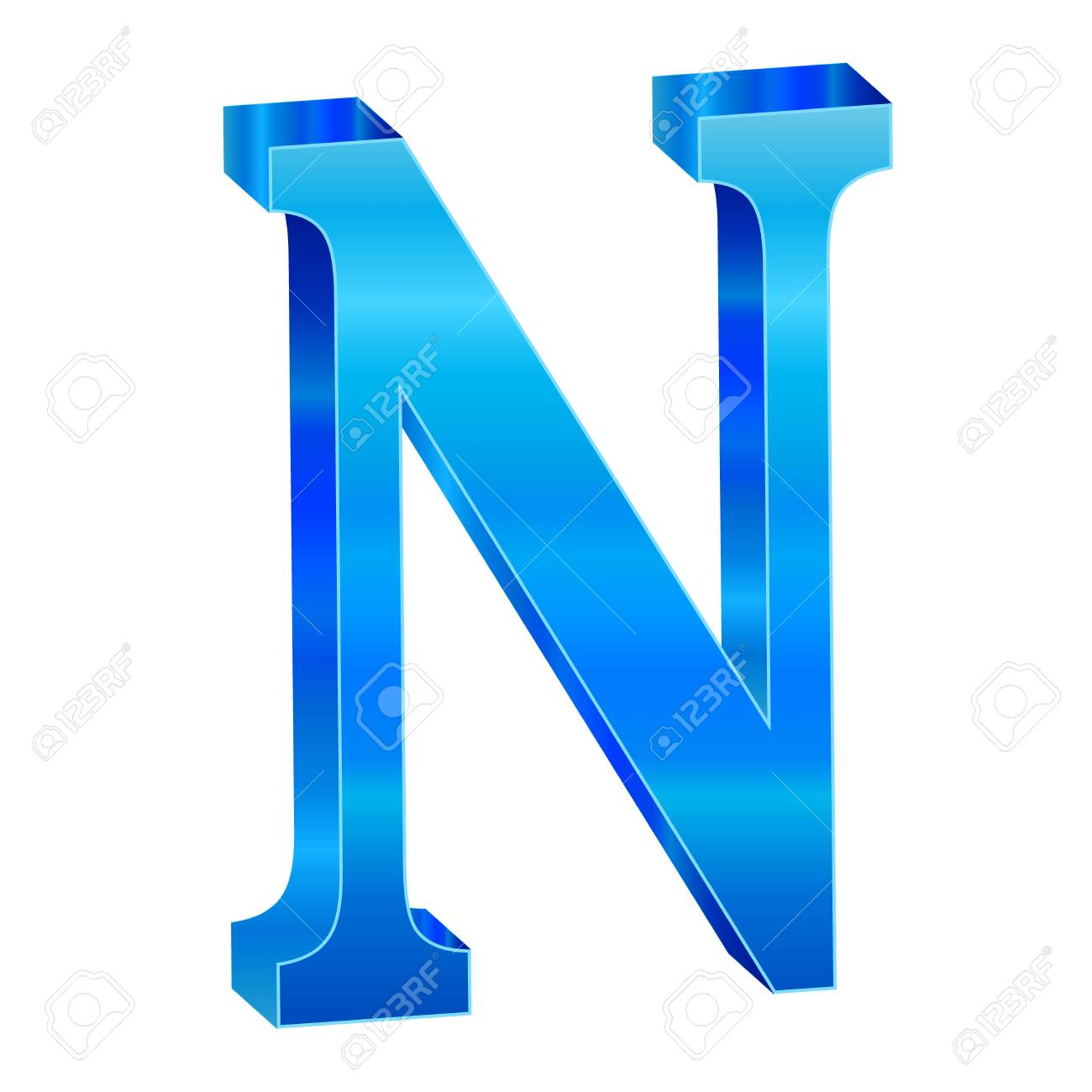 Blue alphabet N Stock Vector - 18638818
