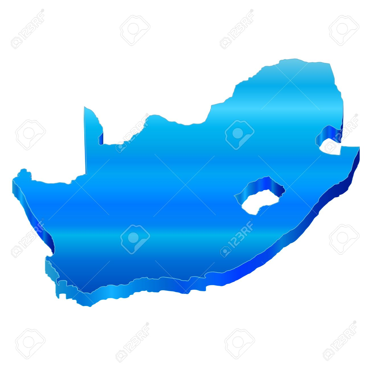 3D Map Of South Africa Royalty Free
