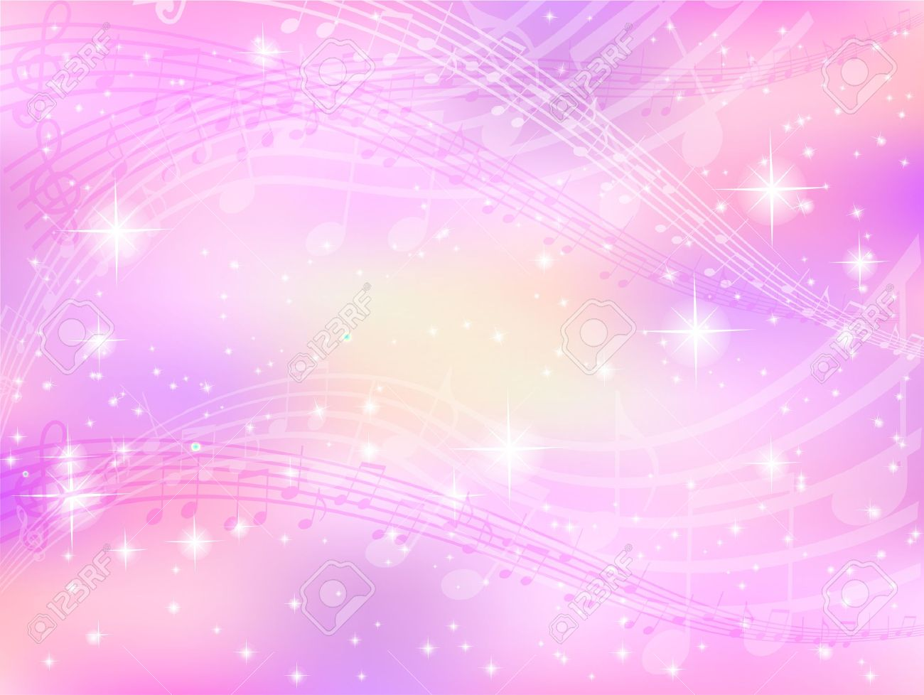 Background music notes pink