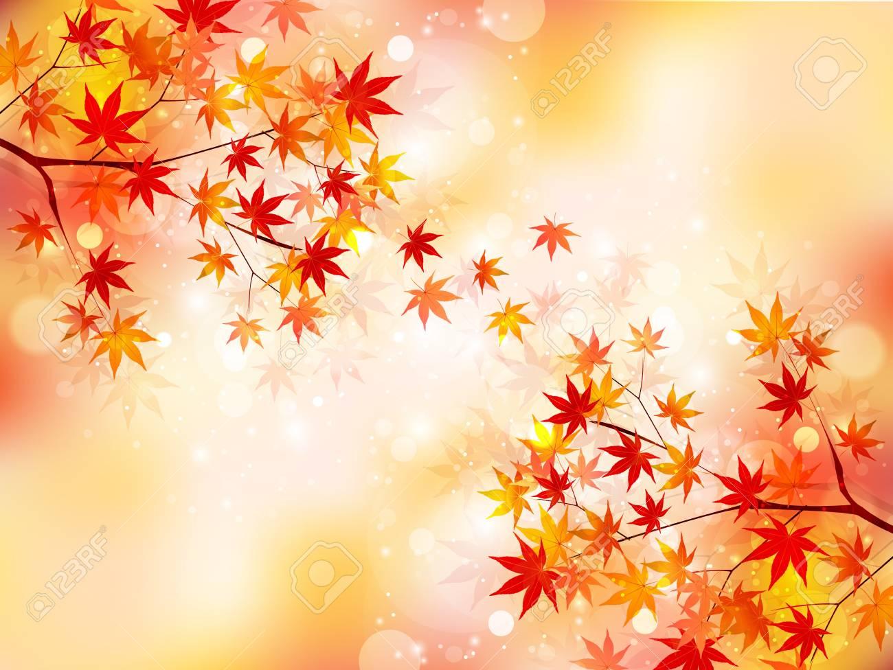 もみじ紅葉背景のイラスト素材ベクタ Image 21999010
