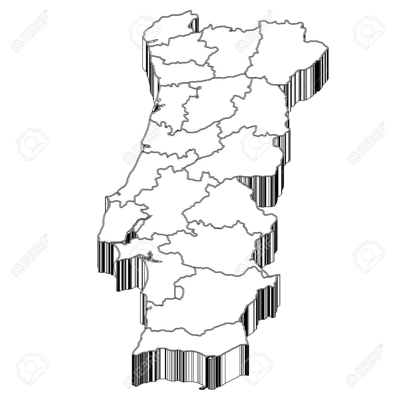 Portugal Portugal Map Royalty Free Cliparts Vectors And Stock - Portugal map black and white