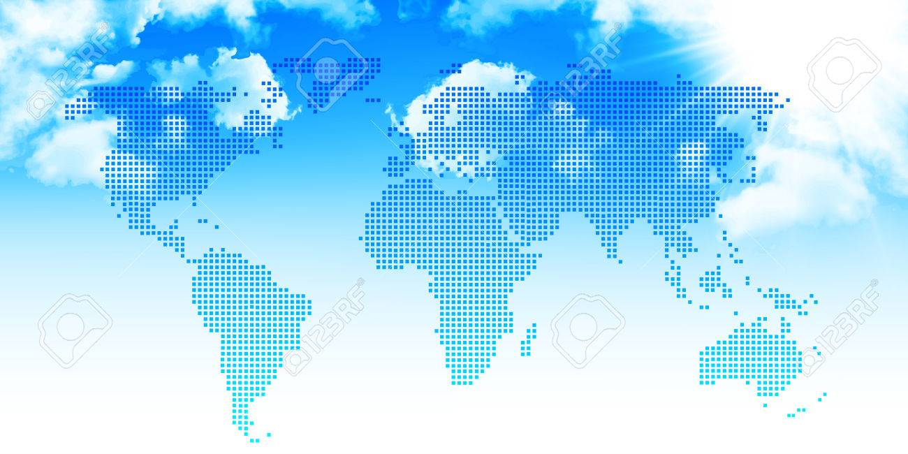World Map Sky Background Royalty Free Cliparts, Vectors, And Stock ...