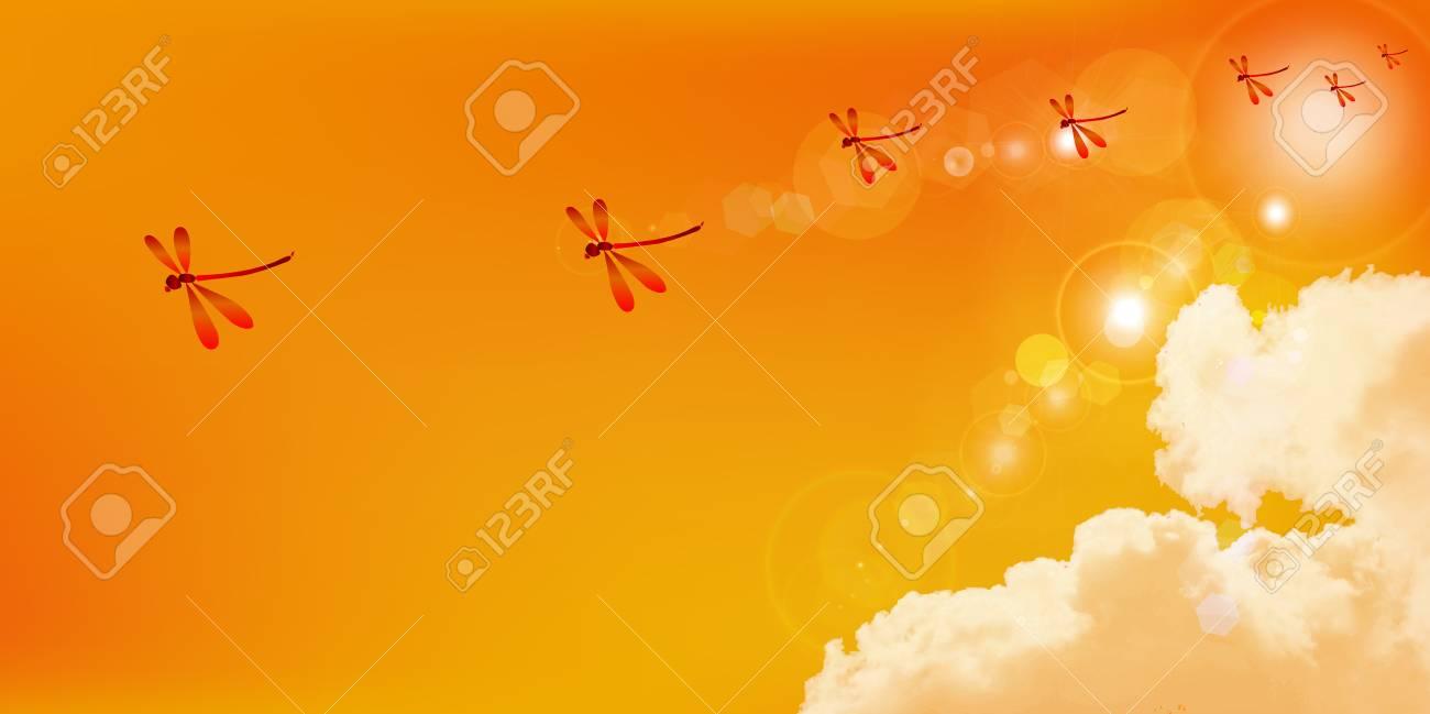 赤とんぼ秋の背景のイラスト素材ベクタ Image 43128227