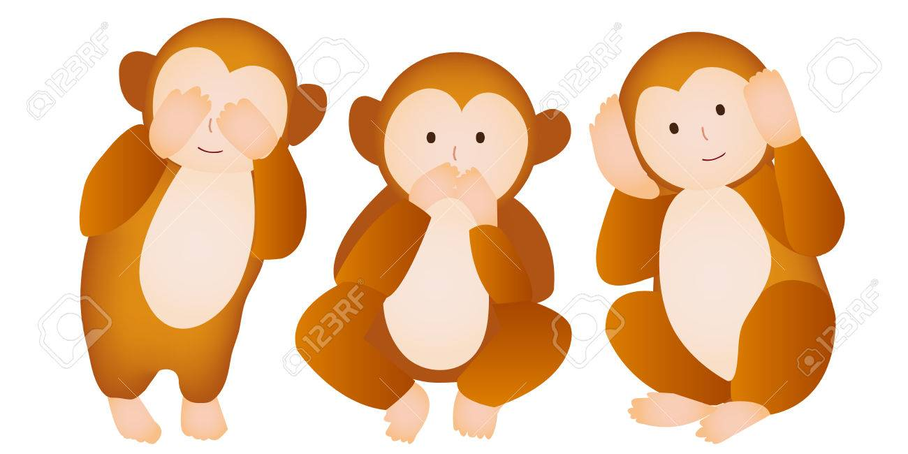 Monkey Three Wise Monkeys Greeting Cards Royalty Free Cliparts