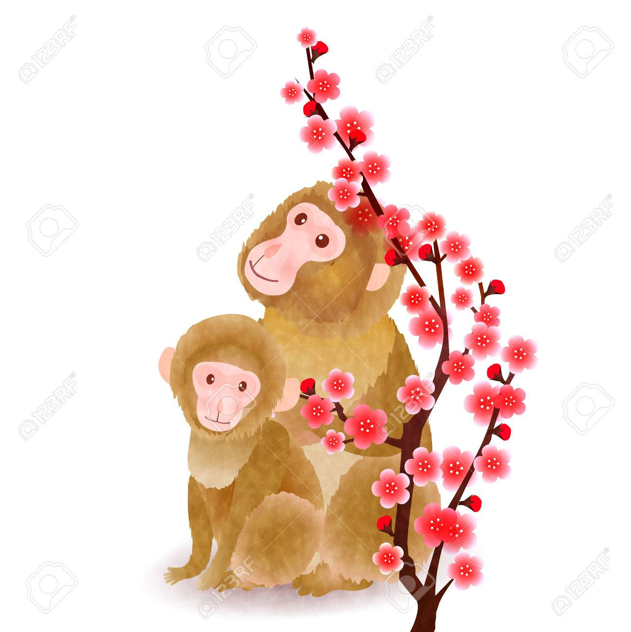 Monkey Child Plum Greeting Cards Royalty Free Cliparts Vectors And
