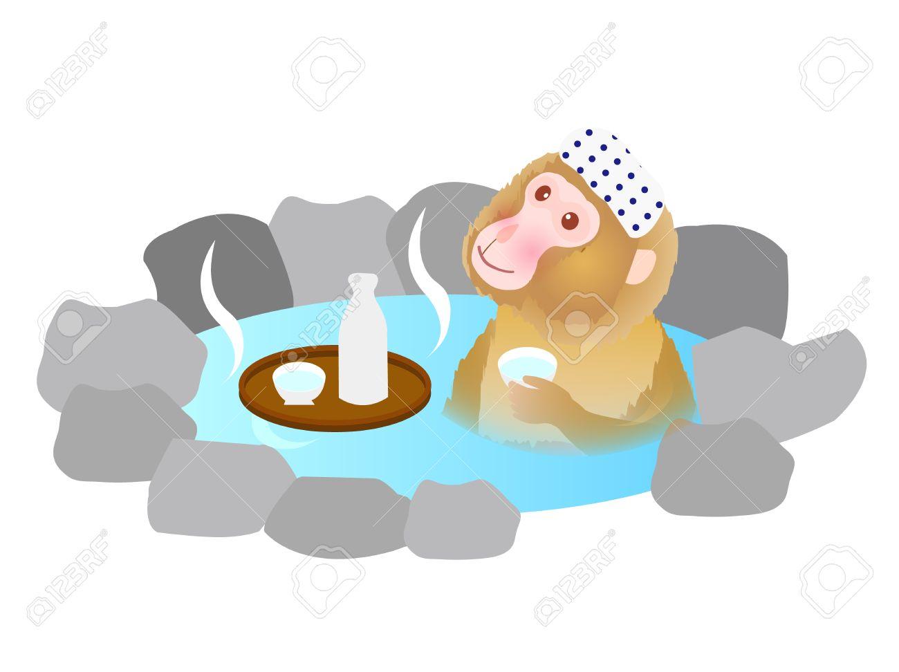 かわいいサル温泉グリーティング カードのイラスト素材ベクタ Image
