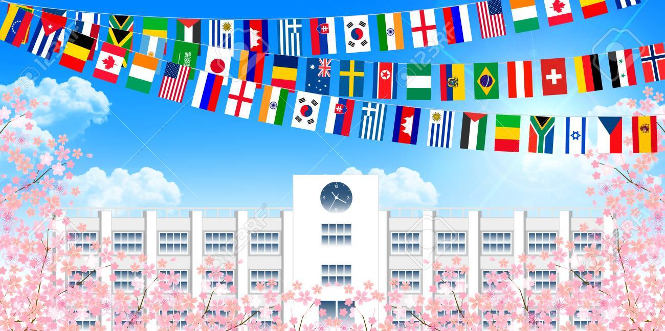 学校運動会桜背景のイラスト素材ベクタ Image 53137676