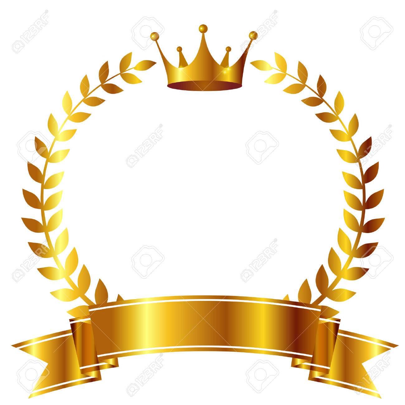 Crown Laurel ribbon icon - 53716163