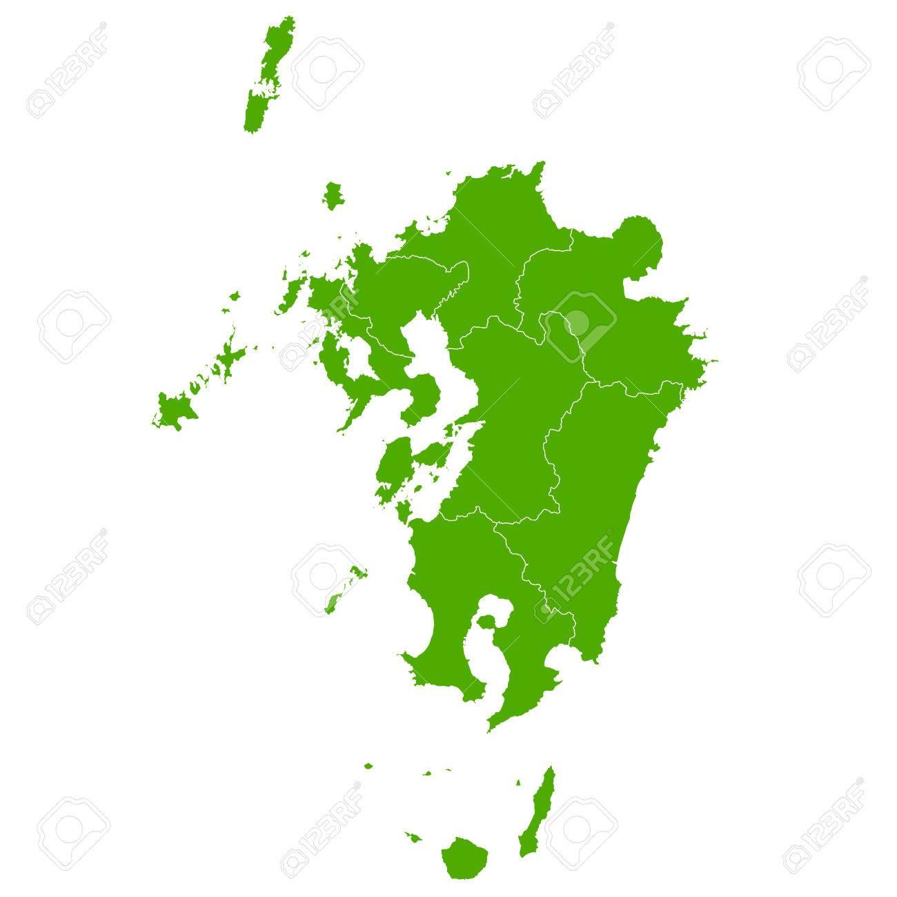 Kyushu map green icon - 57949400