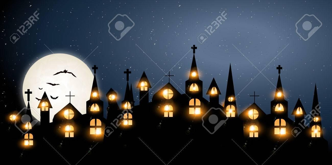 Halloween Castle church background - 59846438