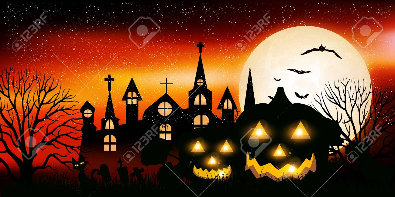 Halloween pumpkin landscape background