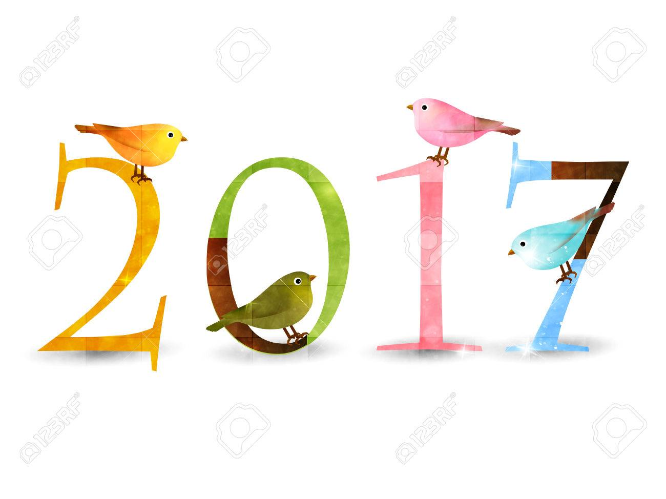 Rooster Nightingale New Year's card background - 62985915