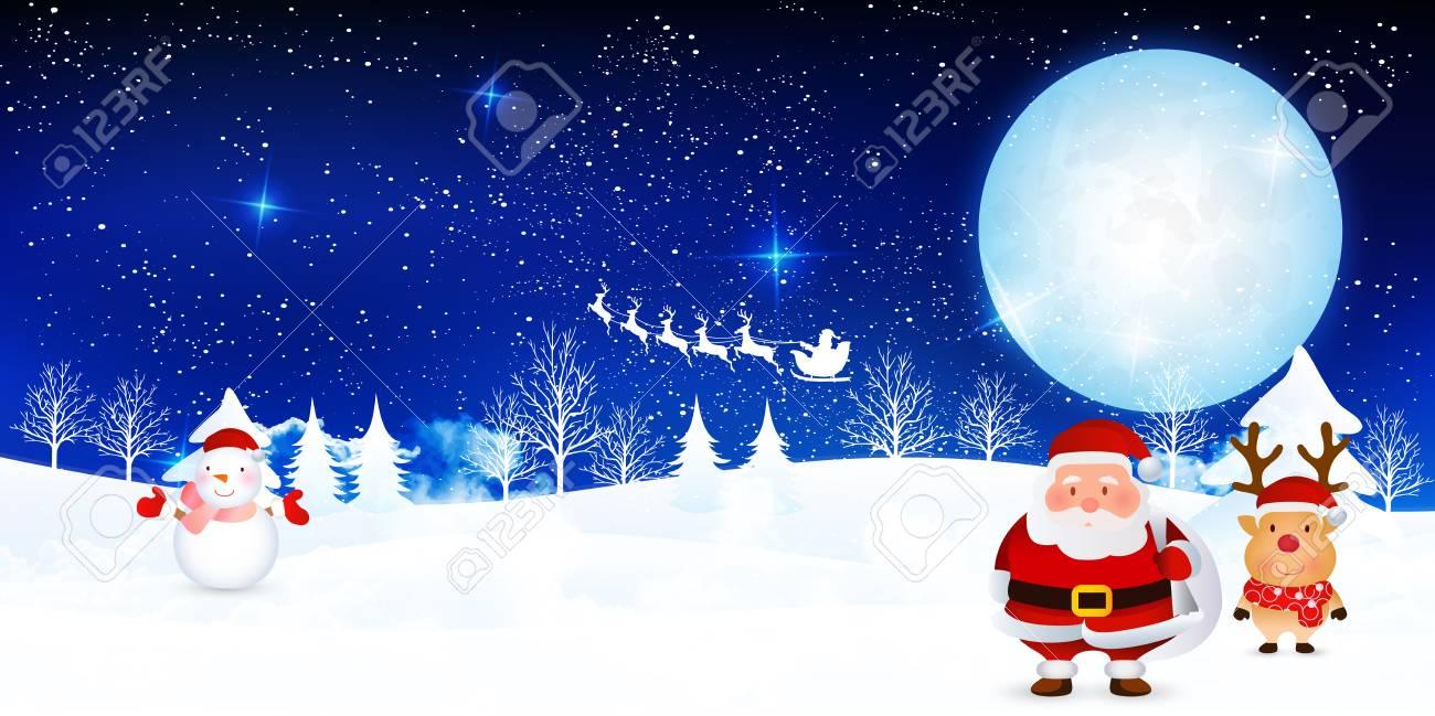 Christmas snow Santa background - 63365648
