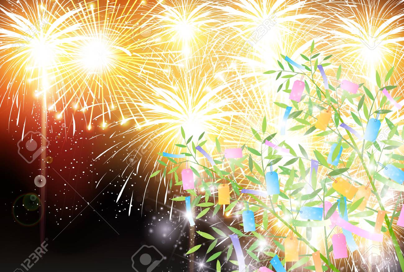 star festival bamboo fireworks background royalty free cliparts