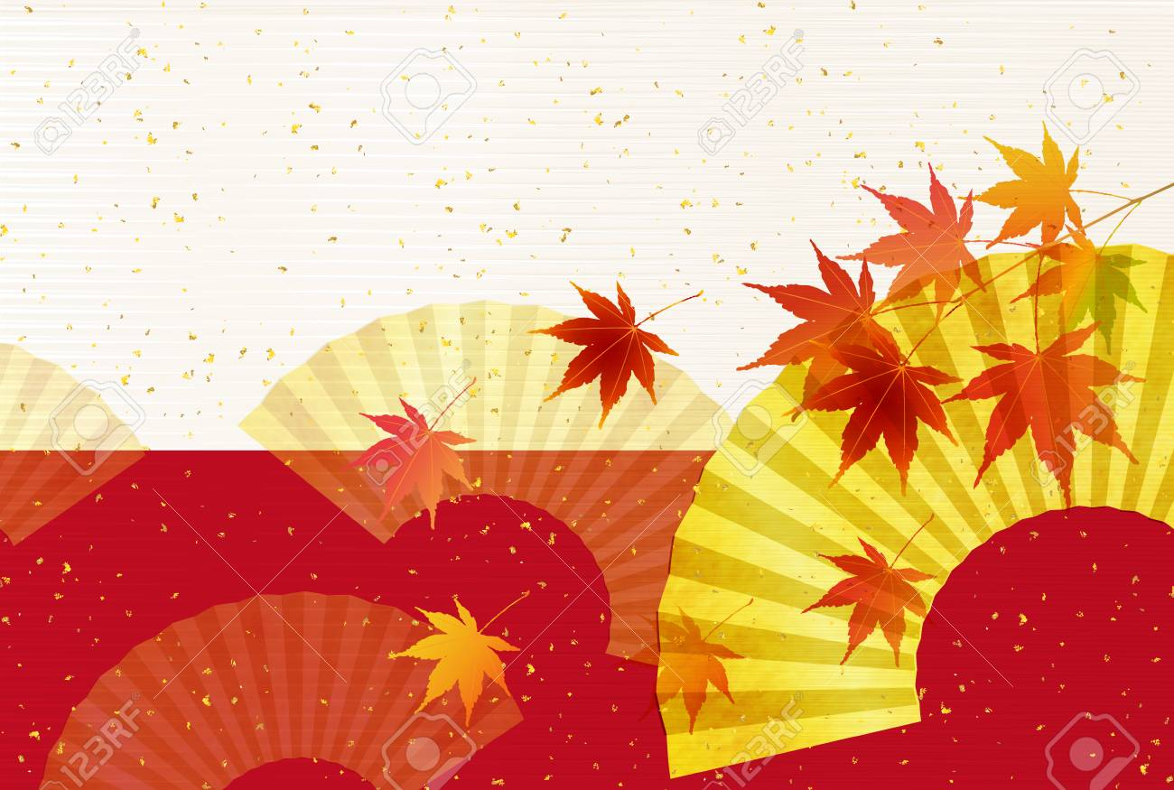 Autumn leaves fall Japanese paper background - 79450968