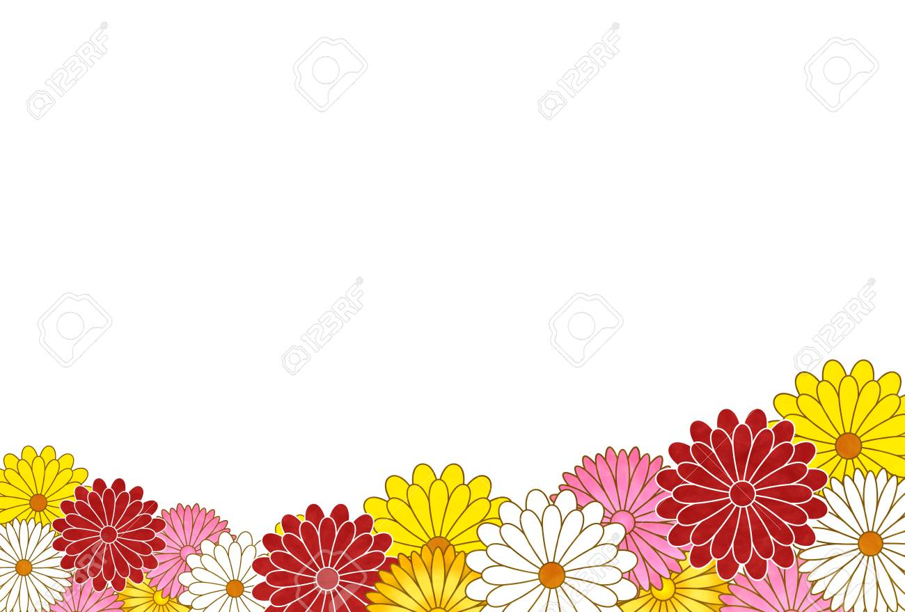 Chrysanthemum Flower Japanese Paper New Year Card Background Royalty