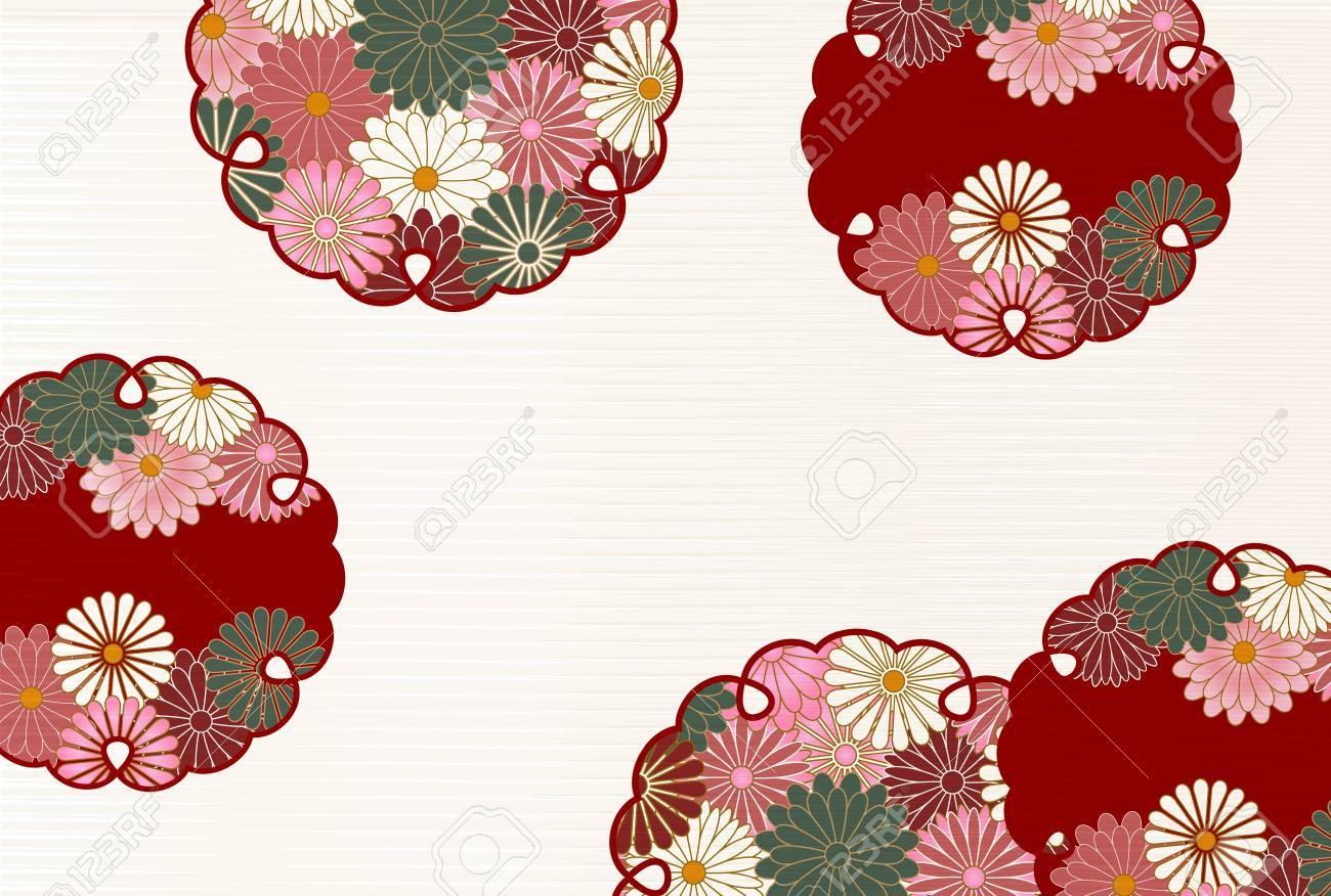 chrysanthemum flower japanese paper new year card background stock vector 81664066