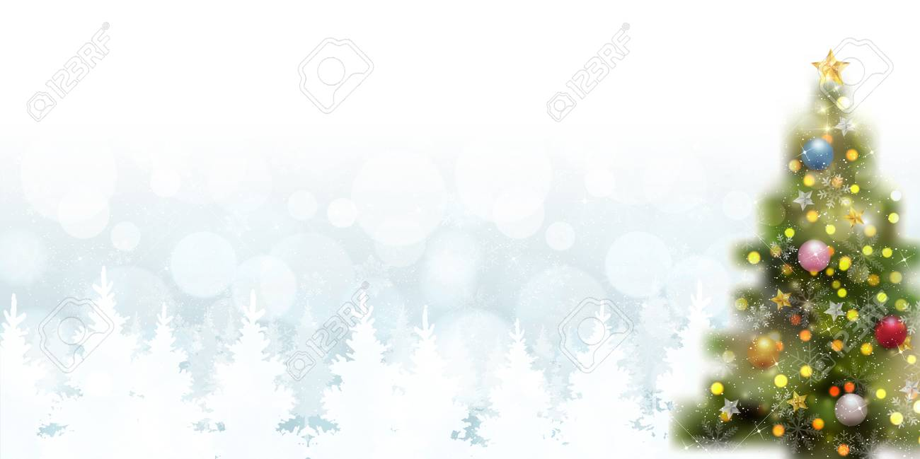 White Christmas Background.Decorated And Plain White Christmas Fir Tree In White Background