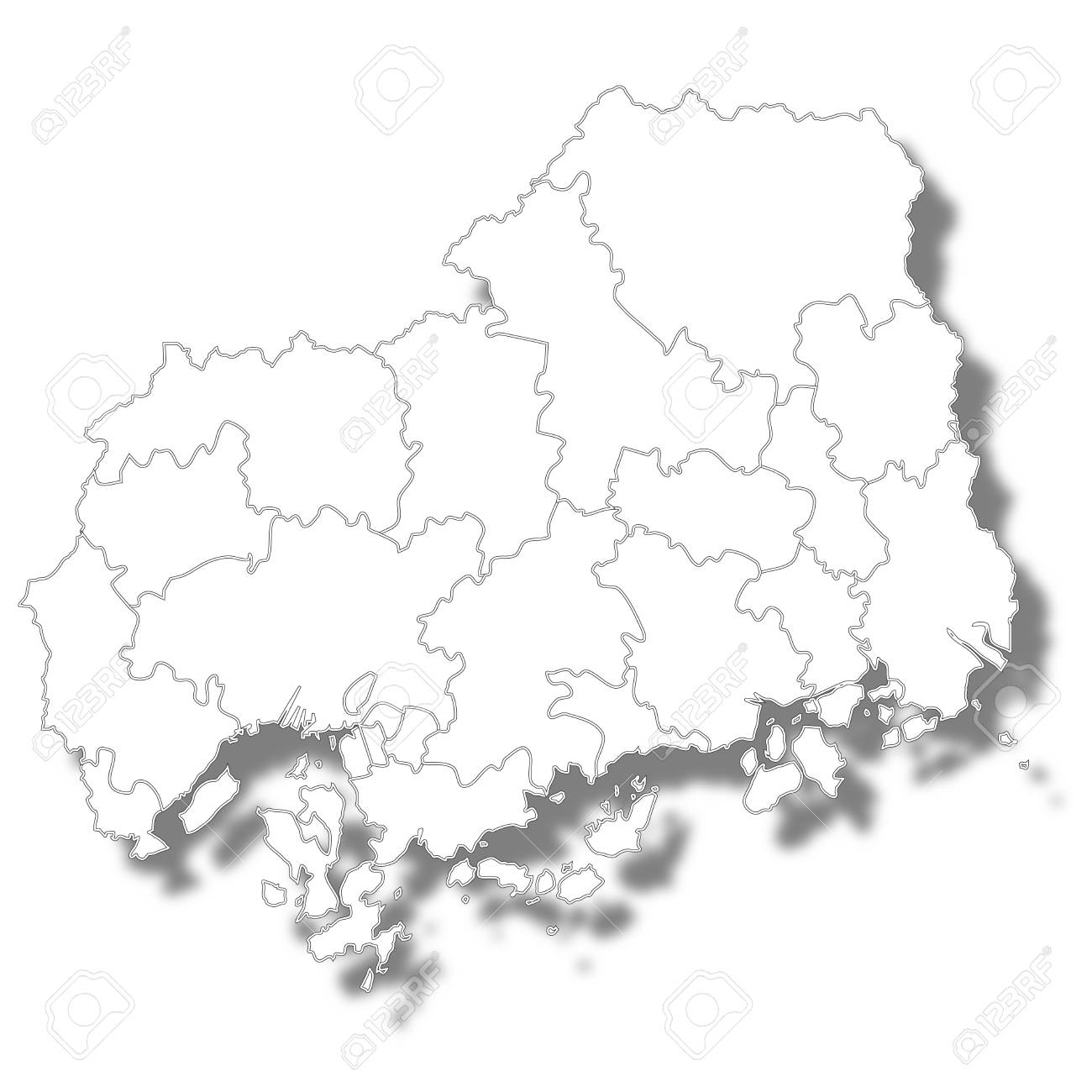 Hiroshima Prefecture Map White Icon Royalty Free Cliparts, Vectors ...