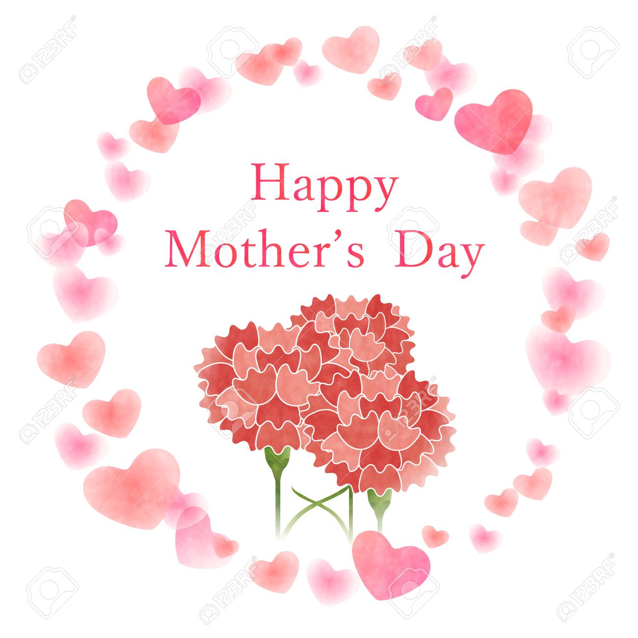 Mothers Day Greeting Card Template With Heart And Carnation