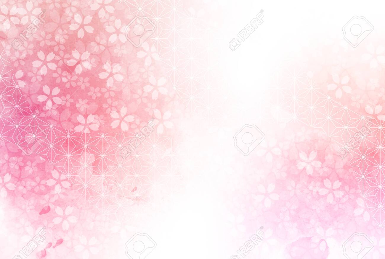 Cherry Blossoms New Year's card Japanese pattern background - 156733345