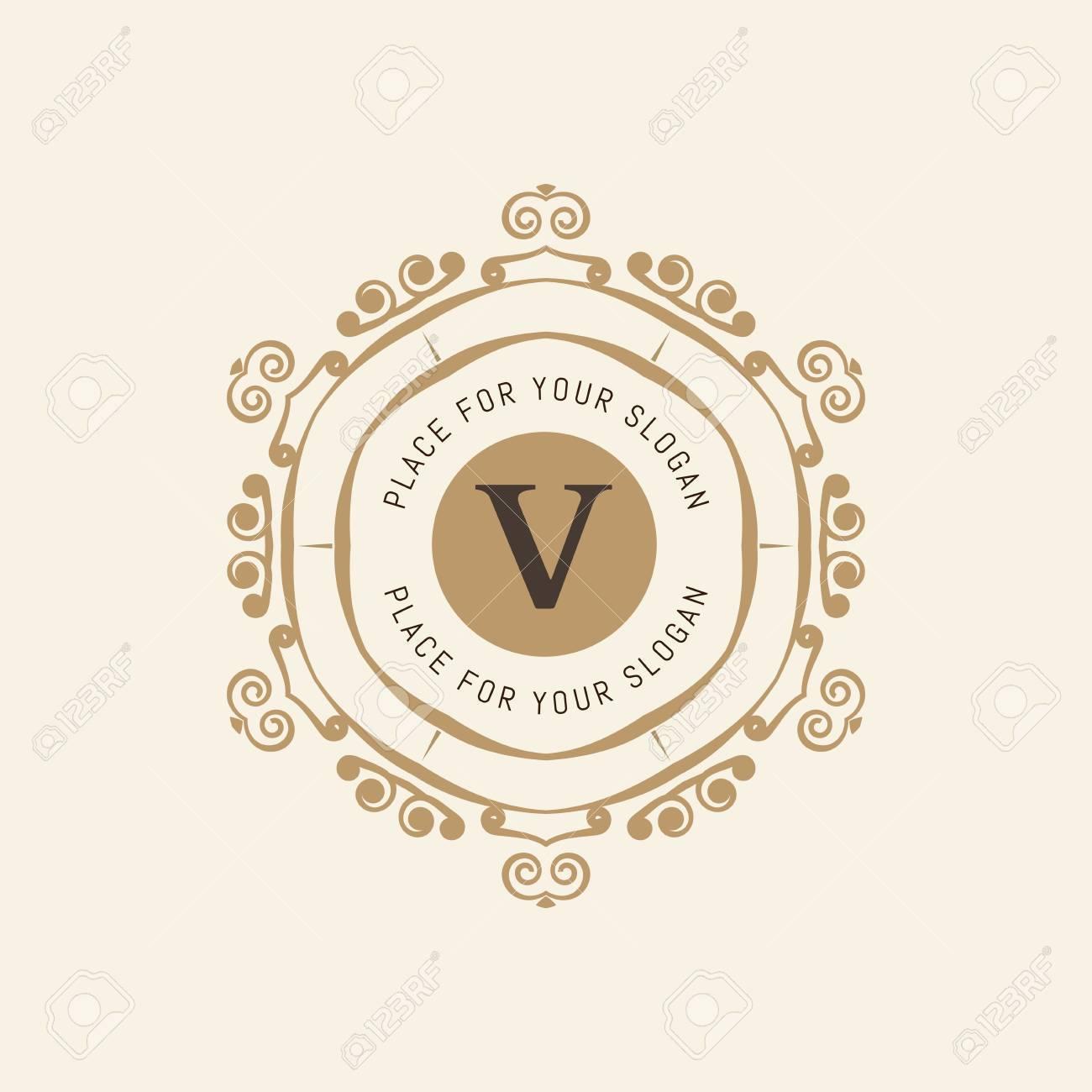 The Letter V Flourishes Calligraphic Monogram Emblem Template Luxury Elegant Frame Ornament Line Logo