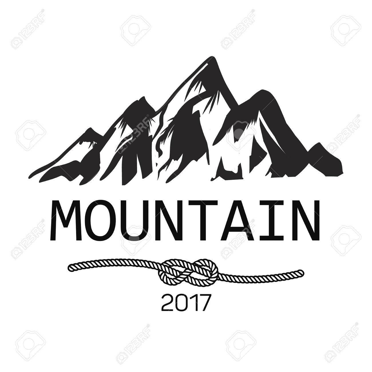 山のアイコン山のベクトルのロゴモノクロのシルエット