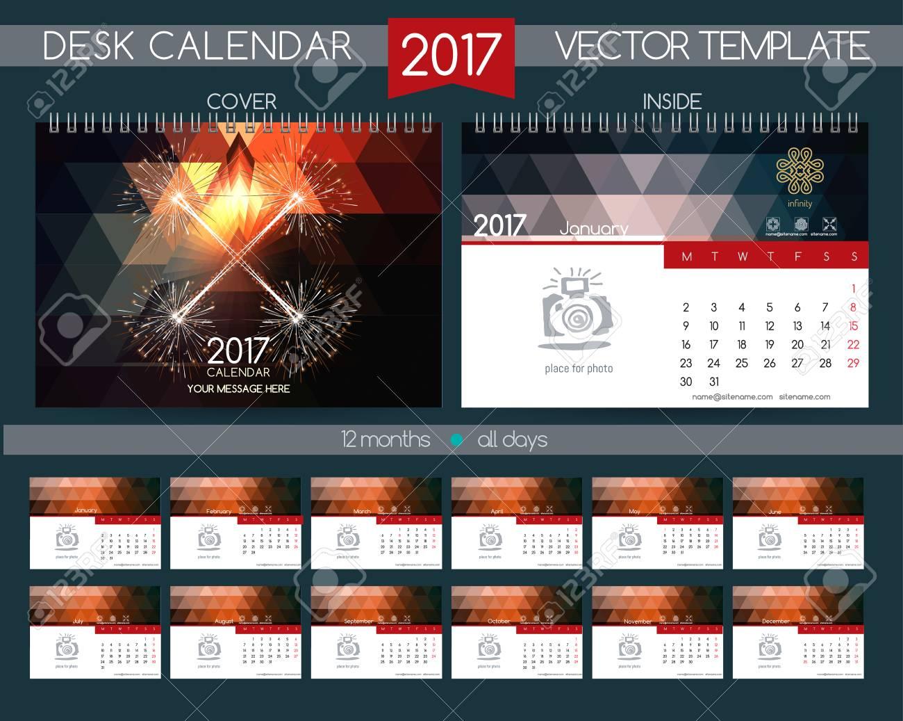 Calendar 2017. Vector Templates All Months. Colourful Festive ...