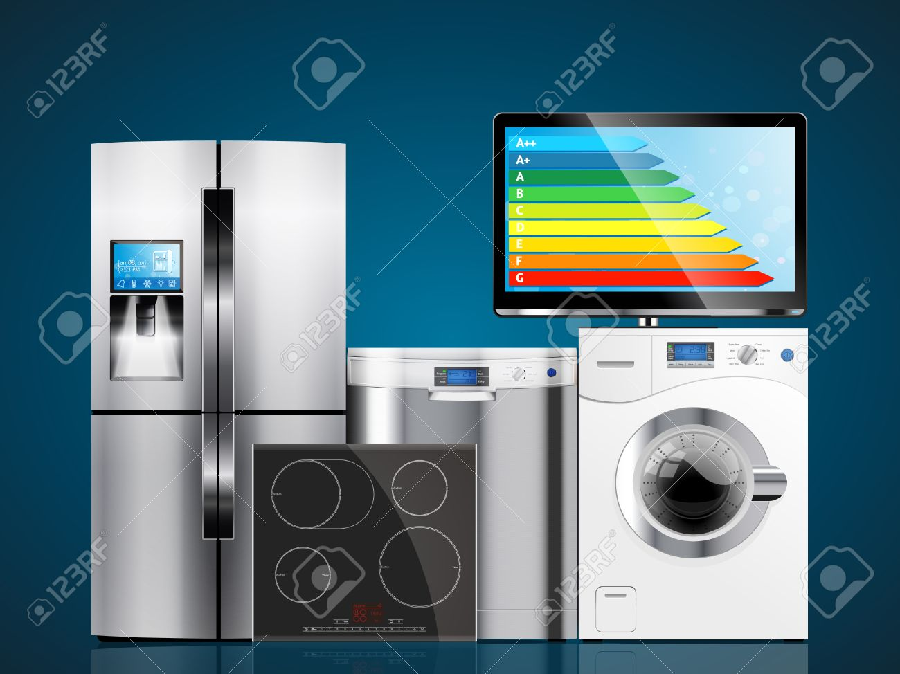 Kitchen And House Appliances: Microwave, Washing Machine ...