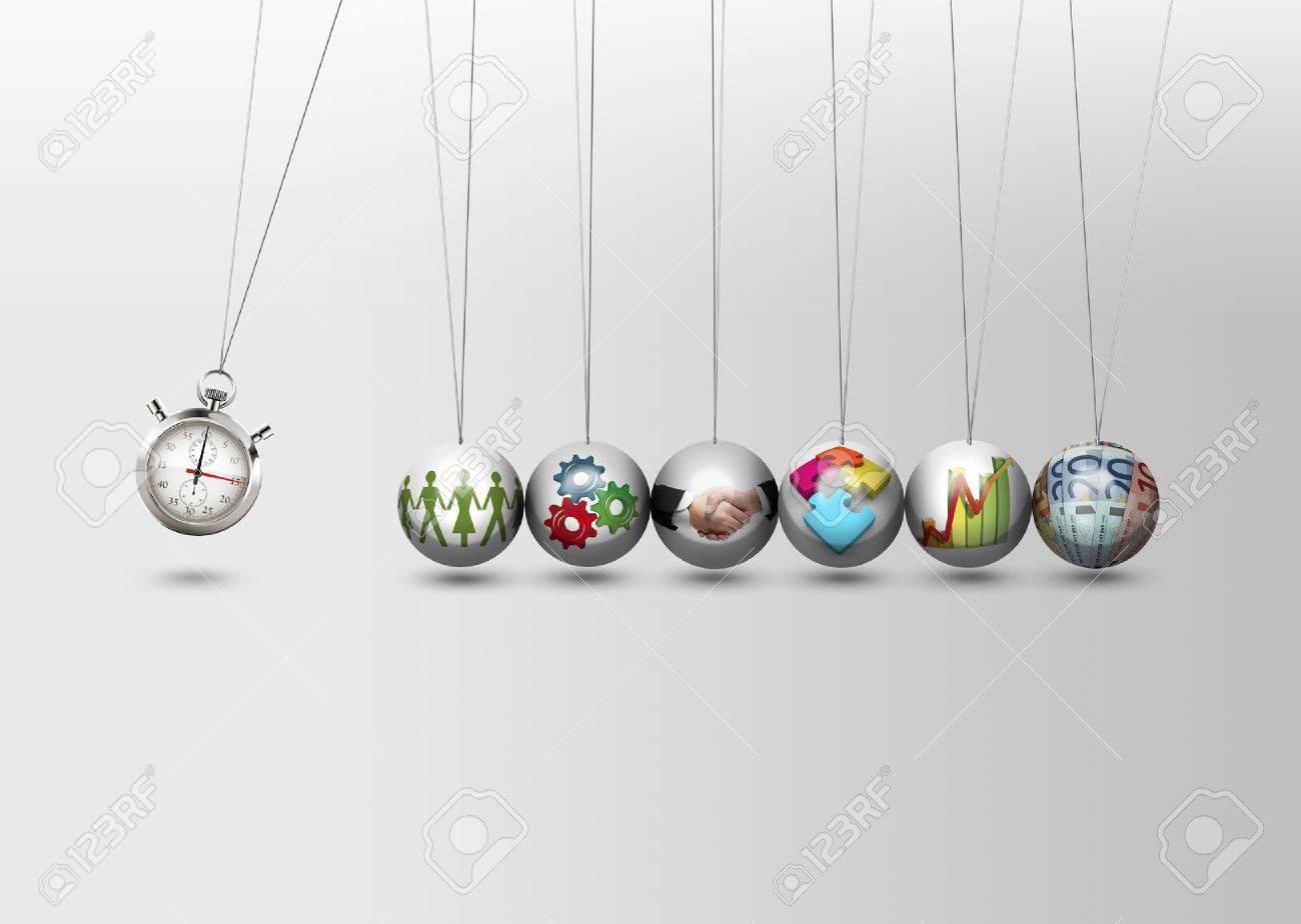 Newtons cradle - time management concept - 48445262
