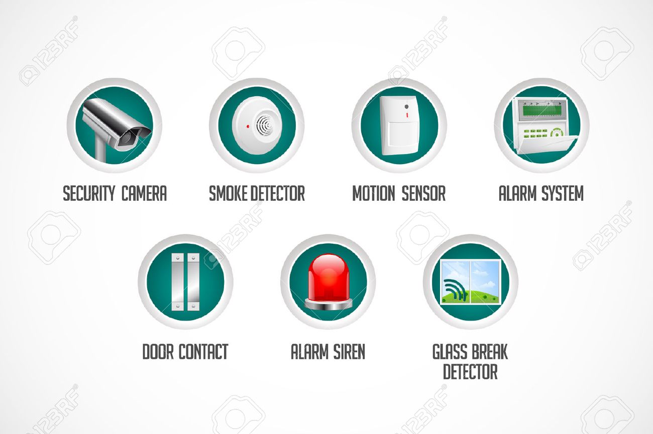 Home security system - motion detector, glass break sensor, gas detector, cctv camera, alarm siren alarm system concept - 51027358