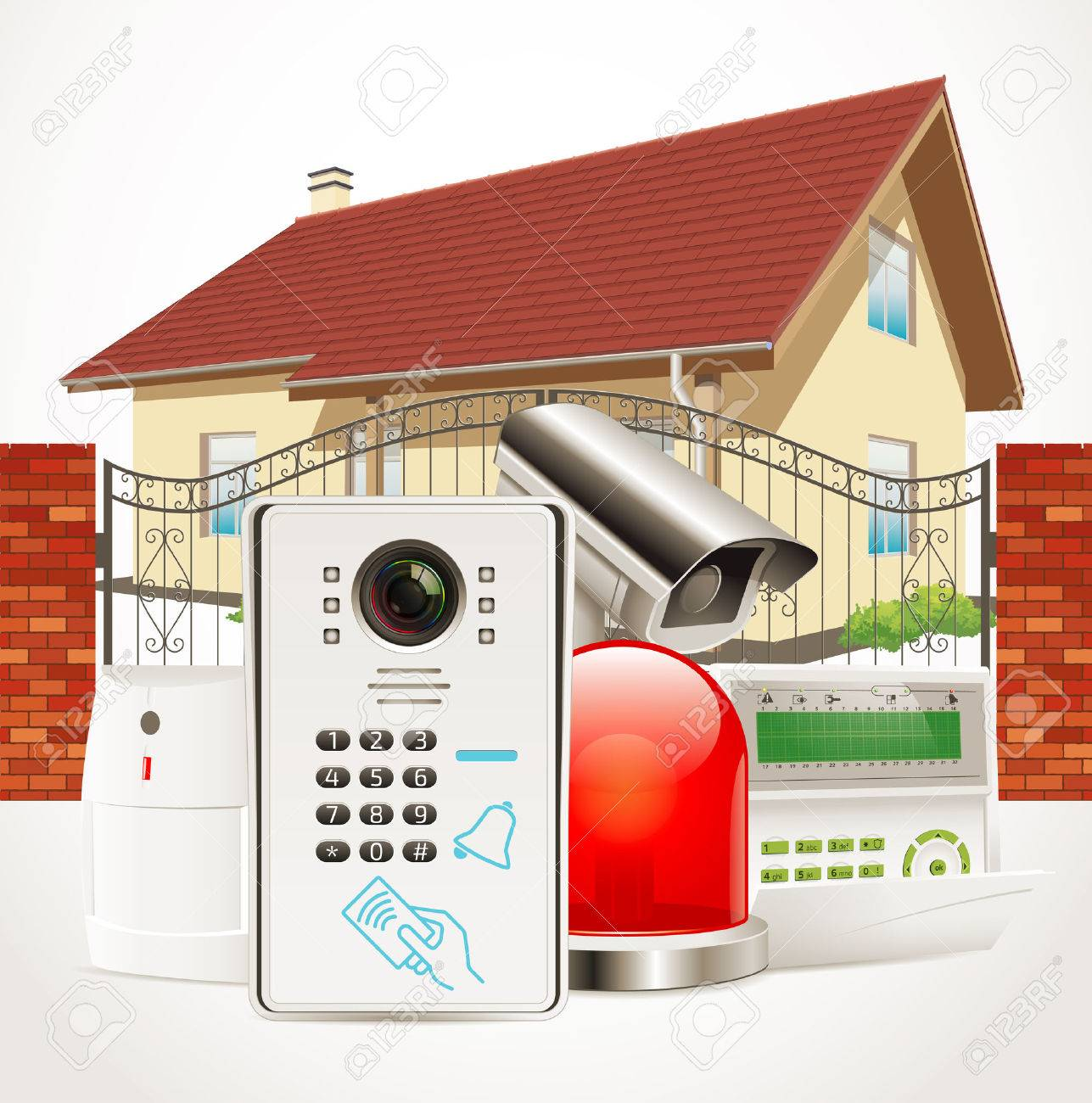 Home access control system - Video door phone, alarm system, motion sensor, cctv camera - 55519488