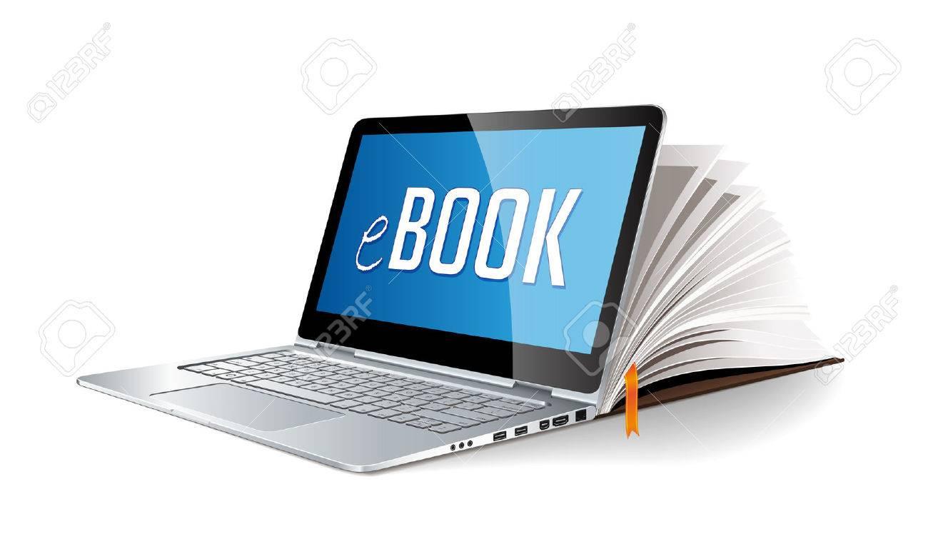 Ebook concept - laptop as electronic book - 58620479