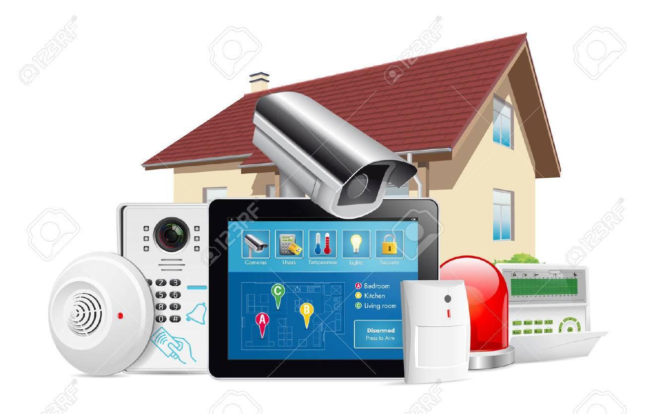 Home security system concept - motion detector, gas sensor, cctv camera, alarm siren - 62970870