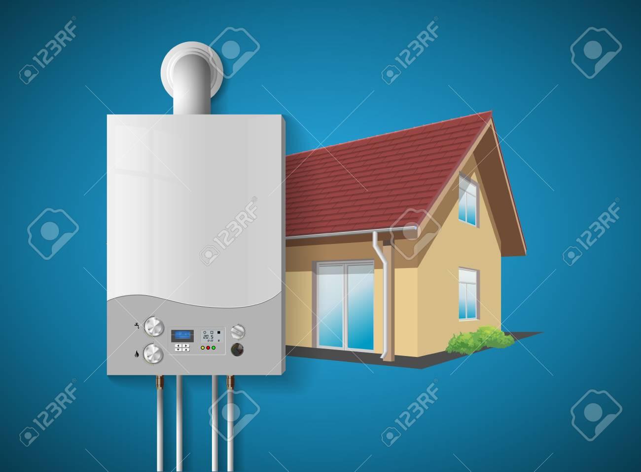 House Heating Concept - Modern Home Gas Fired Boiler - Energy ...